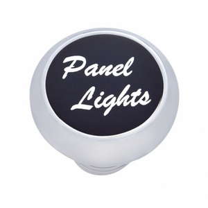 "23466 by UNITED PACIFIC - Small Deluxe Dash Knob w/ ""Panel Lights"" Black Aluminum Sticker"