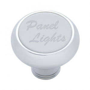 "23492 by UNITED PACIFIC - Small Deluxe Dash Knob w/ ""Panel Lights"" Stainless Steel Plaque"