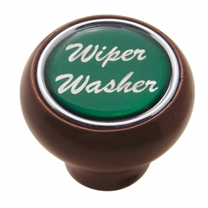 "23562 by UNITED PACIFIC - ""Wiper/Washer"" Wood Deluxe Dash Knob - Green Glossy Sticker"