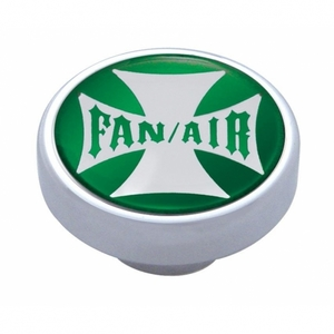 "23608 by UNITED PACIFIC - ""Fan/Air"" Dash Knob - Green Maltese Cross Sticker"