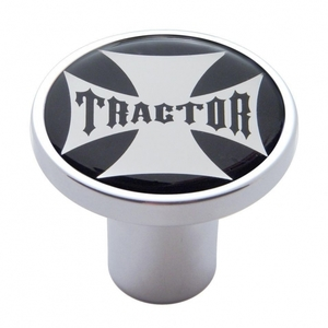 "23654 by UNITED PACIFIC - ""Tractor"" Air Valve Knob - Black Maltese Cross Sticker"