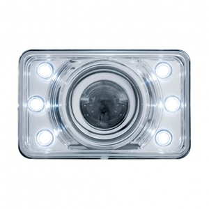 """31375 by UNITED PACIFIC - 4"""" x 6"""" Crystal Projection Headlight w/ LED Position Light - Low Beam Only"""