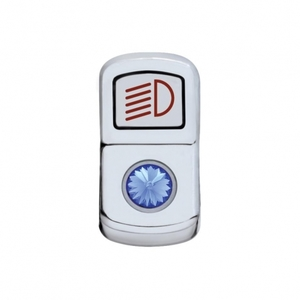 "45131 by UNITED PACIFIC - ""Headlight"" Rocker Switch Cover - Blue Diamond"