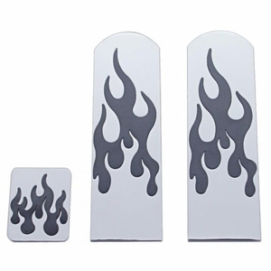 70326 by UNITED PACIFIC - Peterbilt Flame Brushed Aluminum Pedal Set - Black Insert